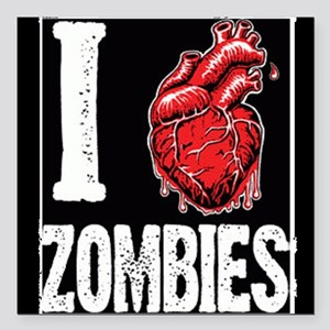 """I Real Heart Zombies Square Car Magnet 3"""" X 3"""