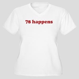 78 happens (red) Women's Plus Size V-Neck T-Shirt