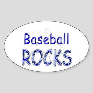 Baseball Rocks Oval Sticker