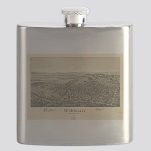 Vintage Pictorial Map of McDonald PA (1897) Flask