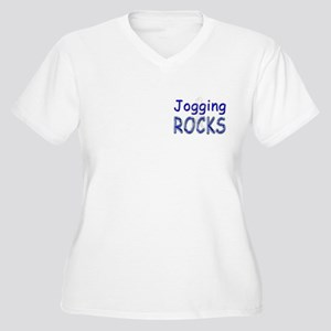 Jogging Rocks Women's Plus Size V-Neck T-Shirt