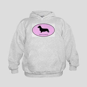 Wirehair Dachshund (oval-pink Kids Hoodie