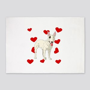 Bull Terrier Love 5'x7'Area Rug