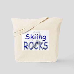 Skiing Rocks Tote Bag