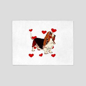 Basset Hound Love 5'x7'Area Rug