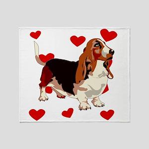Basset Hound Love Throw Blanket