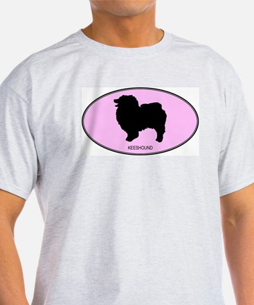Keeshound (oval-pink) T-Shirt