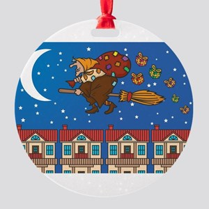 xmas Witch Befana Round Ornament