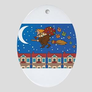 xmas Witch Befana Oval Ornament