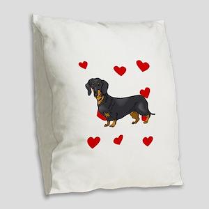 Dachshund Love Burlap Throw Pillow