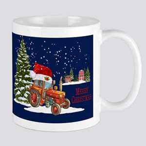 Merry Christmas Farm Tractor Mugs