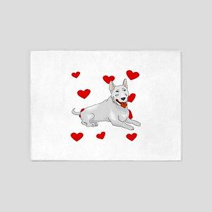 Bull Terrier Love 5'x7'Area Rug