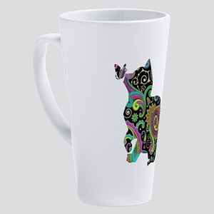 Paisley cat and butterfly 17 oz Latte Mug