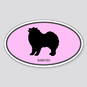 Samoyed (oval-pink) Oval Sticker