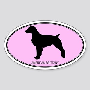 American Brittany (oval-pink) Oval Sticker