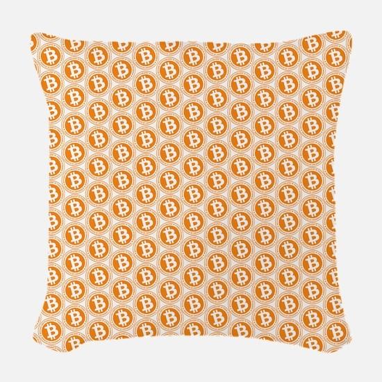 Bitcoin All-Over Logo Orange Woven Throw Pillow