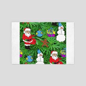 marijuana santa claus 4' x 6' Rug