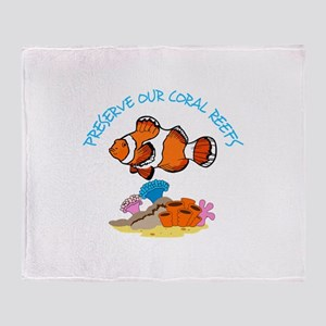 PRESERVE OUR CORAL REEFS Throw Blanket