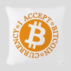 Type 2 I Accept Bitcoin Woven Throw Pillow