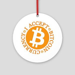 Type 2 I Accept Bitcoin Ornament (Round)