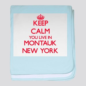 Keep calm you live in Montauk New Yor baby blanket