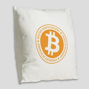 Type 1 Bitcoin Logo Burlap Throw Pillow