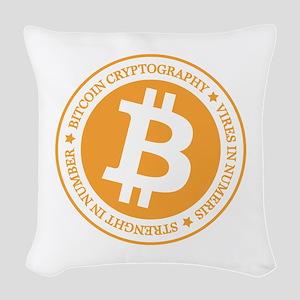 Type 1 Bitcoin Logo Woven Throw Pillow