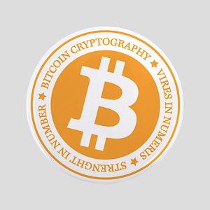 """Type 1 Bitcoin Logo 3.5"""" Button"""