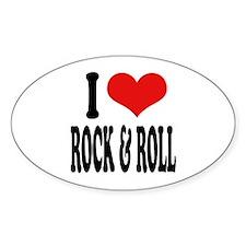 I Love Rock & Roll Oval Sticker