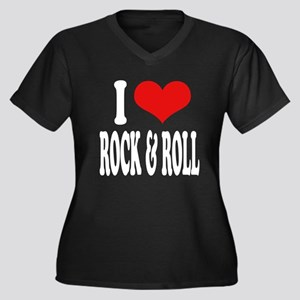 I Love Rock & Roll Women's Plus Size V-Neck Dark T