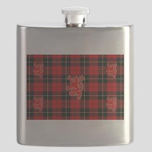 Red tartan and lion rampant design_b Flask