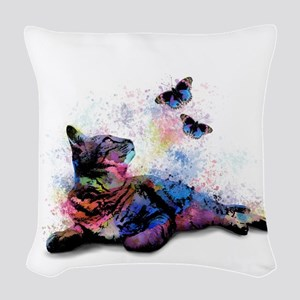 Cat 614 Woven Throw Pillow