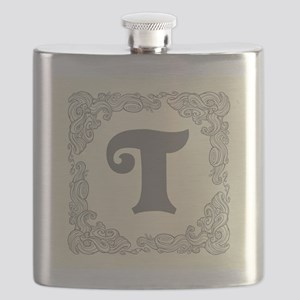 White Personalized Monogram Initial Flask