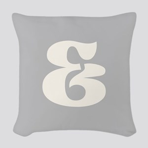 Gray White Ampersand And Sign Woven Throw Pillow