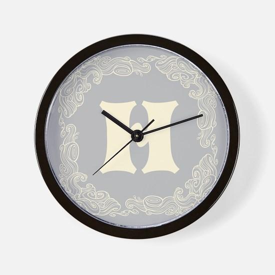 Gray Personalized monogram initial Wall Clock