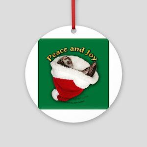 Ferret Santa Hat Ornament (Round)