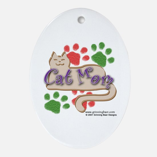 Cat Mom Oval Ornament