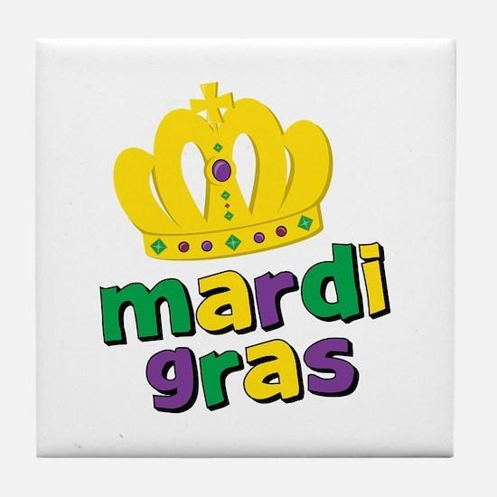 Mardi Gras Crown Tile Coaster