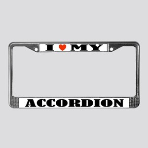 I Love My Accordion License Plate Frame