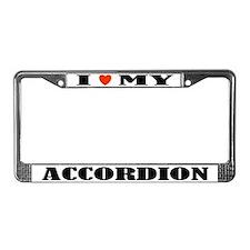 I Love My Accordion License Plate Frame