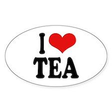 I Love Tea Oval Sticker