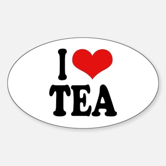 I Love Tea Oval Decal