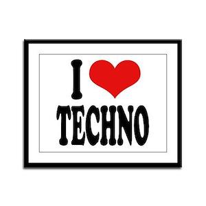 I Love Techno Framed Panel Print