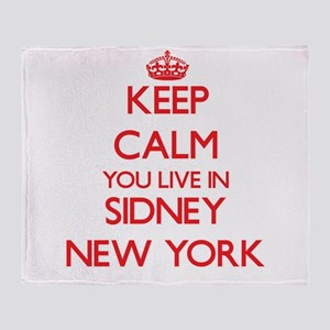 Keep calm you live in Sidney New Yor Throw Blanket