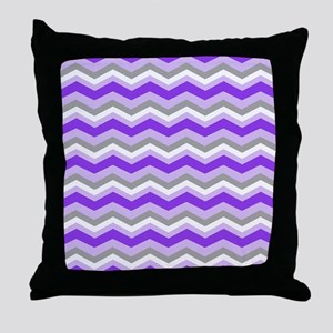 purple gray chevron Throw Pillow