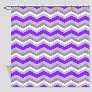 purple gray chevron Shower Curtain