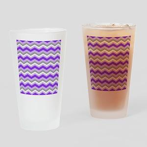 purple gray chevron Drinking Glass