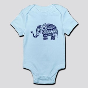 Cute Floral Elephant In Navy Blue Body Suit