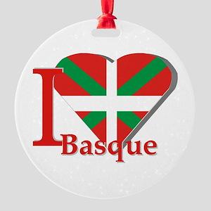 I love Basque Round Ornament