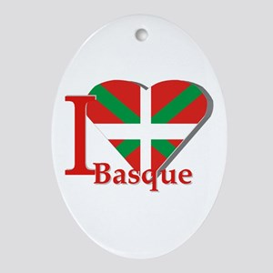 I love Basque Ornament (Oval)